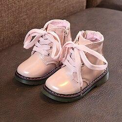 2020 dziecięce buty dziewczęce Pu skórzane śniegowce kostki zasuwane buty Martin modne buty dla małego dziecka jesienne zimowe obuwie dziecięce dla dziewczynek