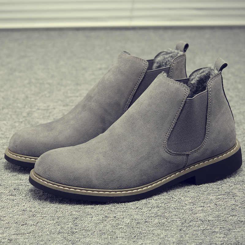 Kış erkek ayakkabı rahat yüksek ayak bileği Chaussure Homme İngiliz moda çizmeler erkekler üzerinde kayma Pu deri Chelsea çizmeler en çok satan