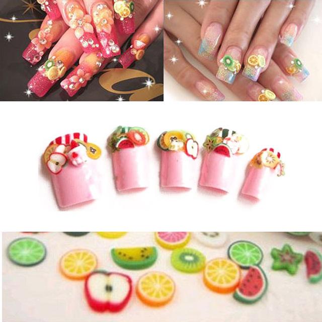 25pc Fimo Fruit Slices Nails Art