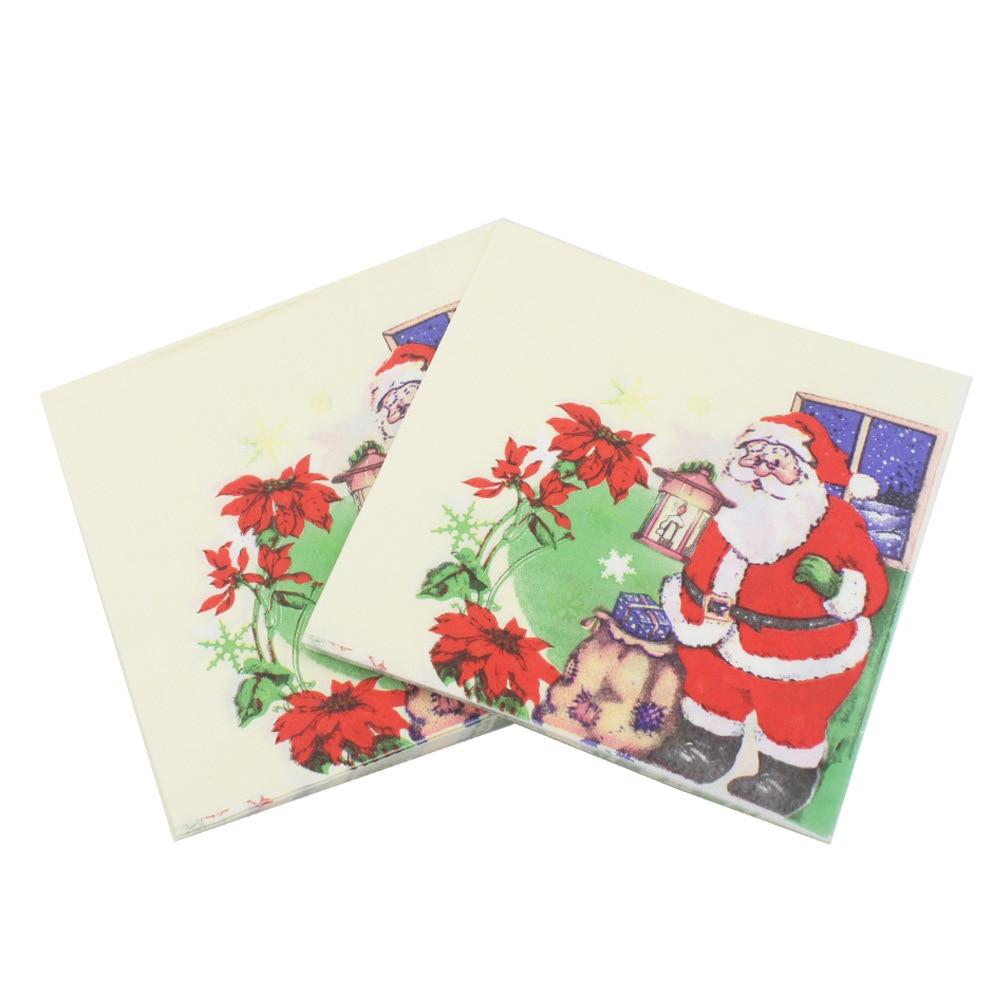 [] 2018 Christmas Printed Napkin Party Paper Santa Restaurant Ornaments Hot Selling