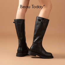 BeauToday Long Boots Women Genuine Cow Leather Knee High Boots Buckle Side Zipper Round Toe Lady Winter Shoes Handmade 01514