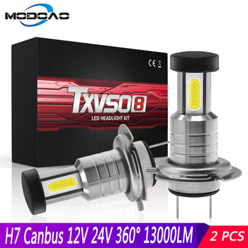 цена на 2pcs H7 Headlight LED CANBUS 12V 24V 110W Headlights 26000LM 6000K Conversion Kit Bulb High/Low Beam 360 Degree Car Headlamp