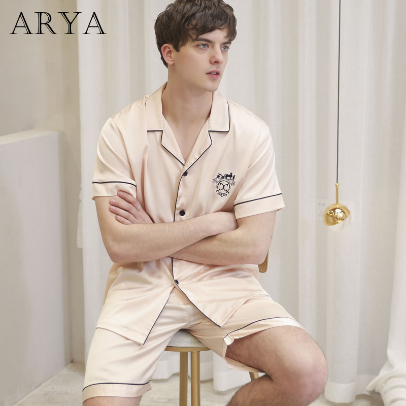 Arya Summer Winter New Short Sleeved Men Pajamas Sets Male Pajama Set Letter Pajama For Men Sleepwear Suit Homewear Size XXXL