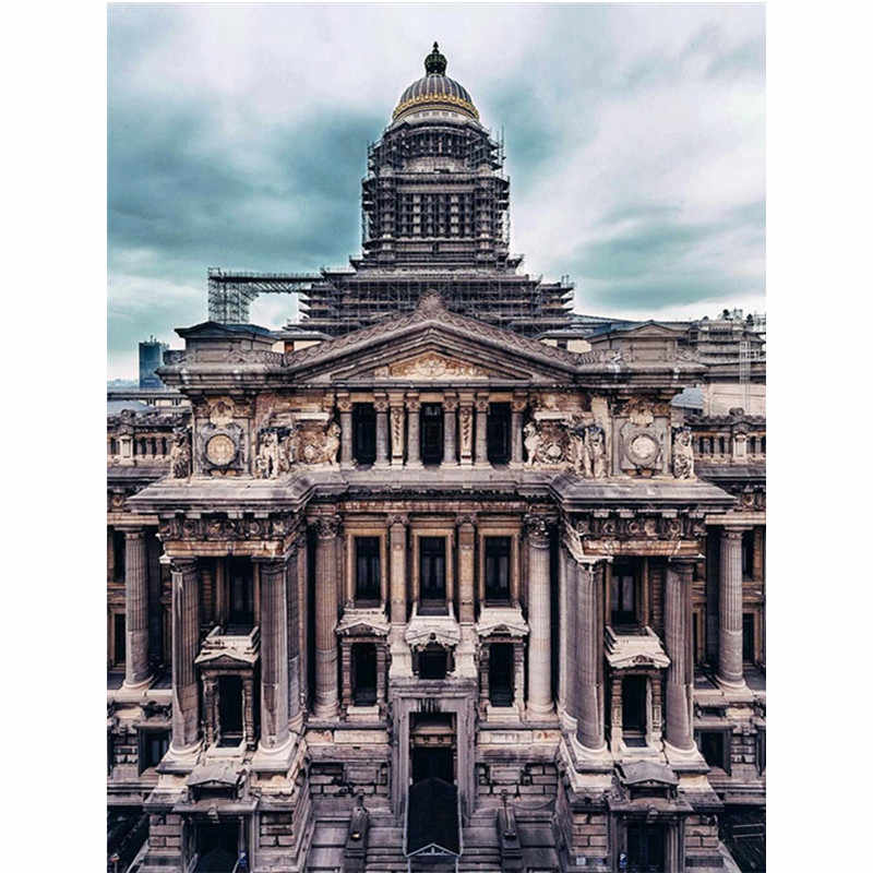 5D DIY Diamond Lukisan Daerah Ibu Kota Brussel Istana Keadilan Pemandangan Anak-anak Cross Stitch Menjahit Dekorasi Rumah