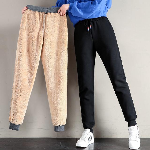 Women Winter Thick Lambskin Cashmere Pants Warm Female Casual Cotton Pants Loose Harlan Long Trousers Plus Size S-5XL 3XL 4XL 1