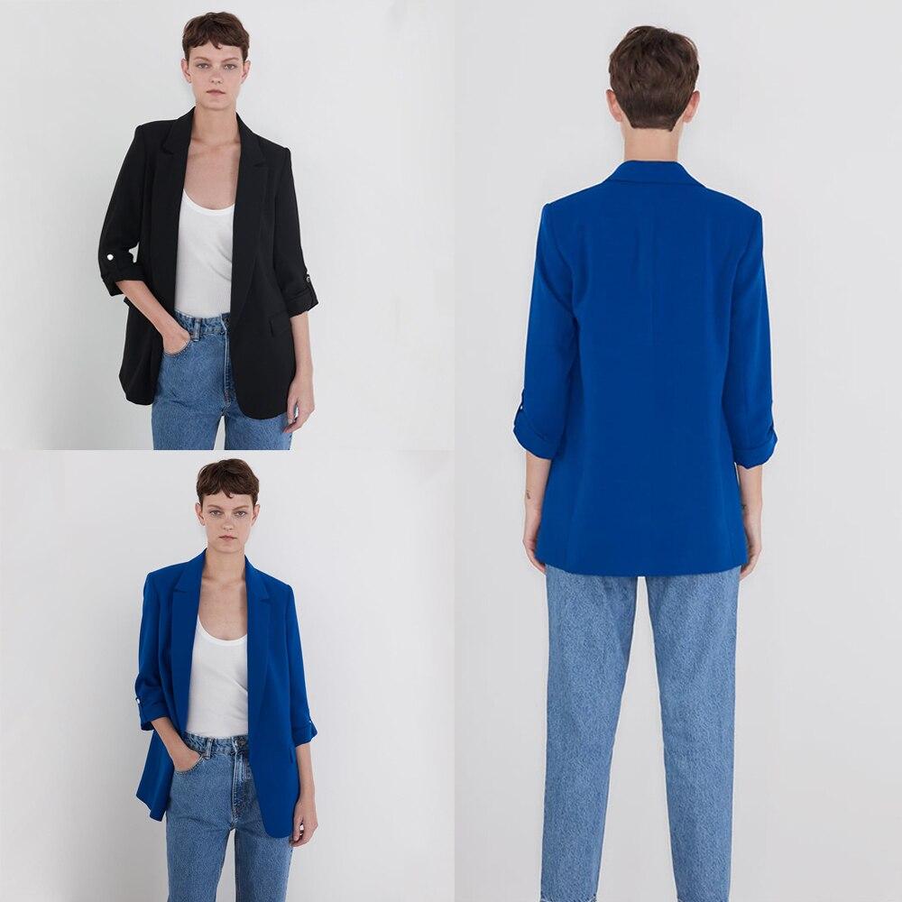 ZA Solid Blazers Women 2019 Fashion Autumn Winter England Elegant Solid Long Sleeve Blue Black Blazers Party Gifts  Wholesale