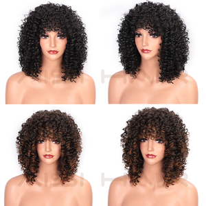 Image 5 - AISI HAIR peluca rizada Afro con flequillo, cabello rubio mezclado marrón, pelucas sintéticas para mujeres negras, pelucas naturales resistentes al calor