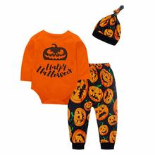 2019 New Arrival Toddler Baby Boys  Halloween Pumpkin Long Sleeve Romper Pants Cap 3PCS Outfits Set