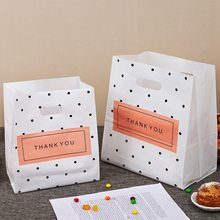 50pcs Thank you Plastic Shopping Bags Gift Bags With Handle Christmas Wedding Party Bag Candy Cake Wrapping Bags Packaging bag