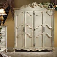 Estilo europeu de madeira de bétula 4 portas roupeiro Европейский стиль березовая древесина 4 двери шкаф GH02