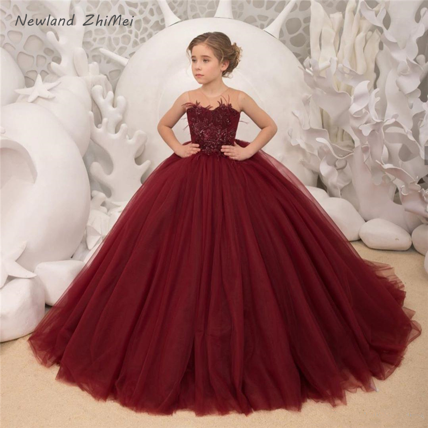 New Arrival Burgundy Flower Girl Dresses 2020 Hot Applique Ball Gown Communion Dresses Illusion O Neck Tulle Party Gown Dress