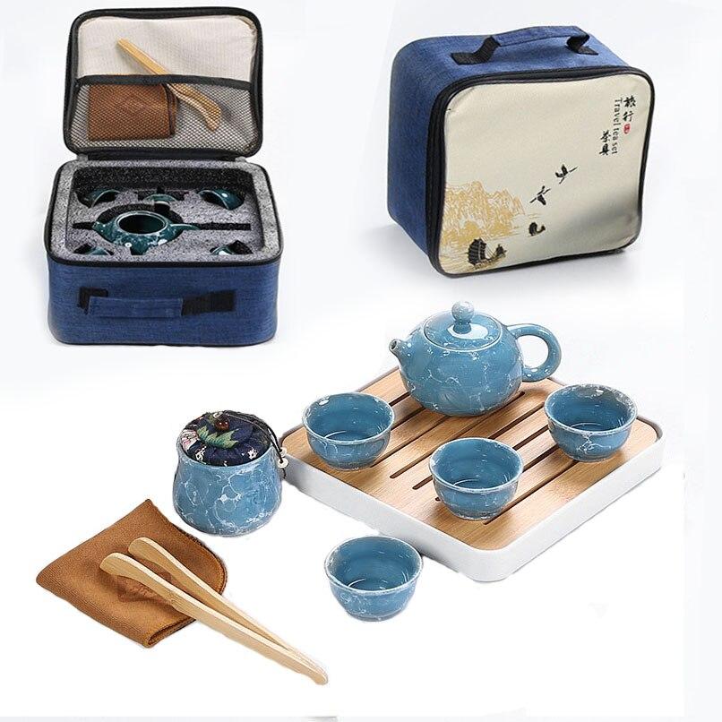 קונג פו תה להגדיר סיני קרמיקה קומקום פורצלן Teaset Gaiwan תה כוסות של תה טקס תה סיר עם נסיעות תיק משלוח חינם