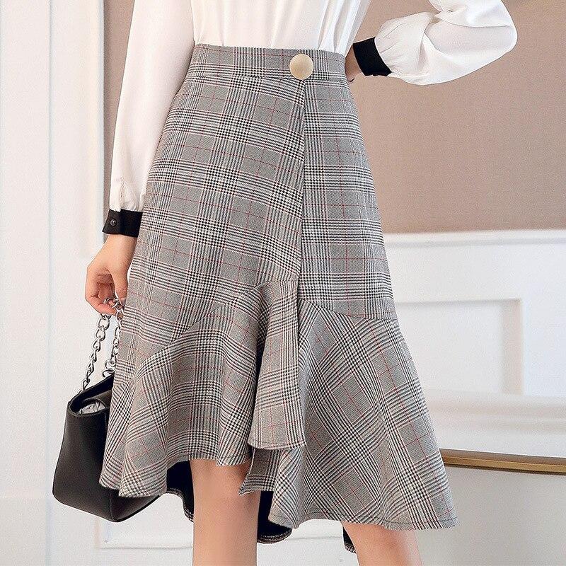 Retro Elegant 2019 Spring High-waisted Fishtail Skirt Front Short Long Back Plaid Flounced Skirt Step Midi-skirt thumbnail