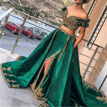 Dubai Evening Dresses Morocco Kaftan off the Shoulder Appliques Two Pieces Side Split Prom Gown Short Sleeves Green Party Dress two tone oblique shoulder split dress