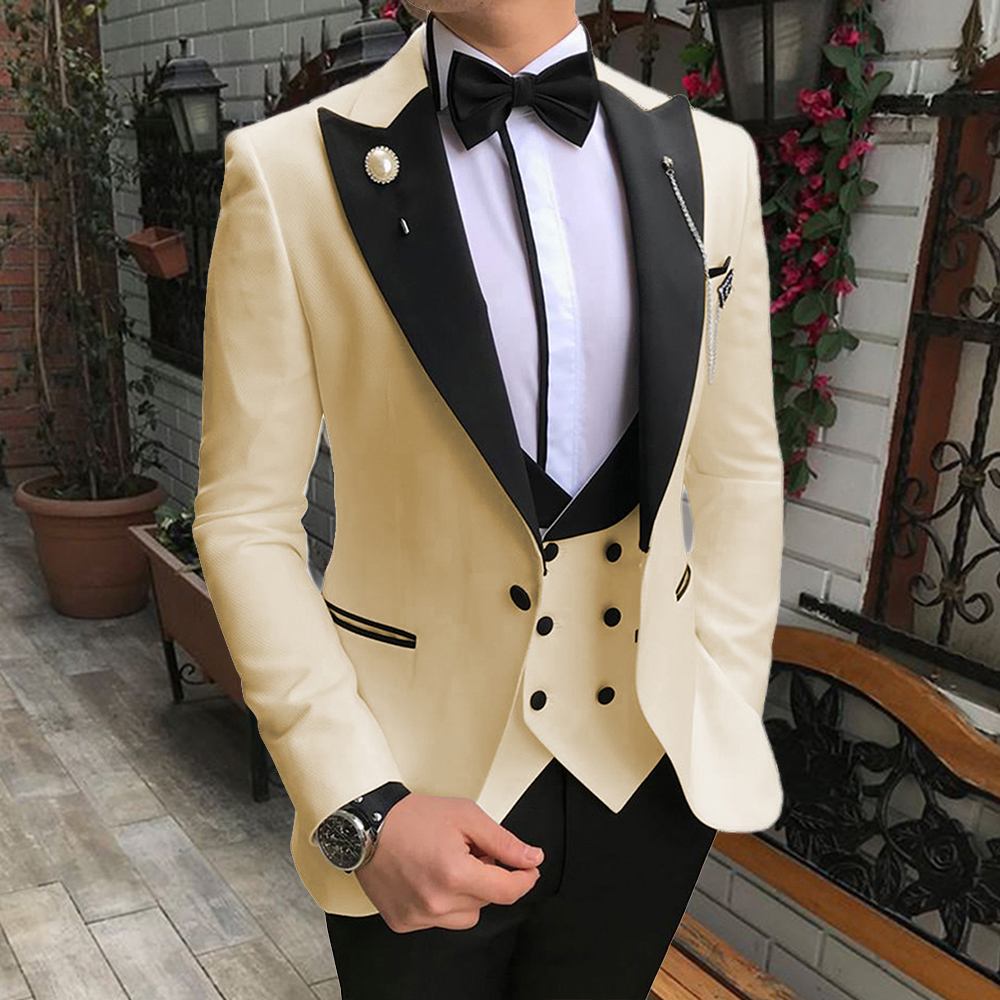 2019 Fashion Champagne Blazer 3 Pieces Peaked Lapel Mens Dinner Party Prom Suits Groom Tuxedos Groomsmen Wedding Suits For Men