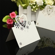 METABLE 50pcs Wedding Party Table Name Place Cards Favor Decor Love Heart Laser Cut Design