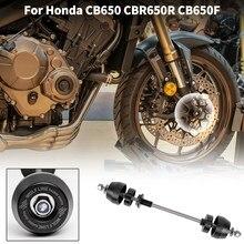 Eixo da roda dianteira da motocicleta garfo quadro slider bater almofada protetor para honda cb650r cbr650r cb650f cbr650f 2014-2021 17 2018 2019