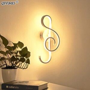 Image 2 - Nowoczesne minimalistyczne kinkiety salon sypialnia nocna 16W AC96V 260V LED kinkiet czarny biały lampa oświetlenie alejek dekoracji
