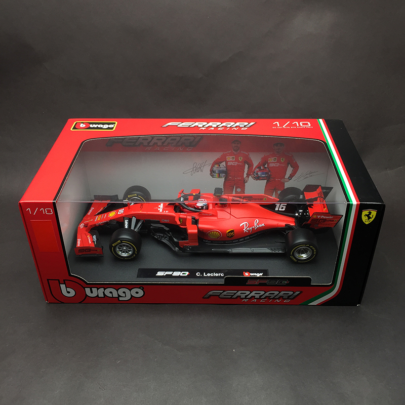 Bburago <font><b>1:18</b></font> 1/18 2019 Ferrari SF90 Charles Leclerc No16 Formula 1 F1 Racing <font><b>Car</b></font> Vehicle <font><b>Diecast</b></font> Display <font><b>Model</b></font> Toy For Boys Kids image