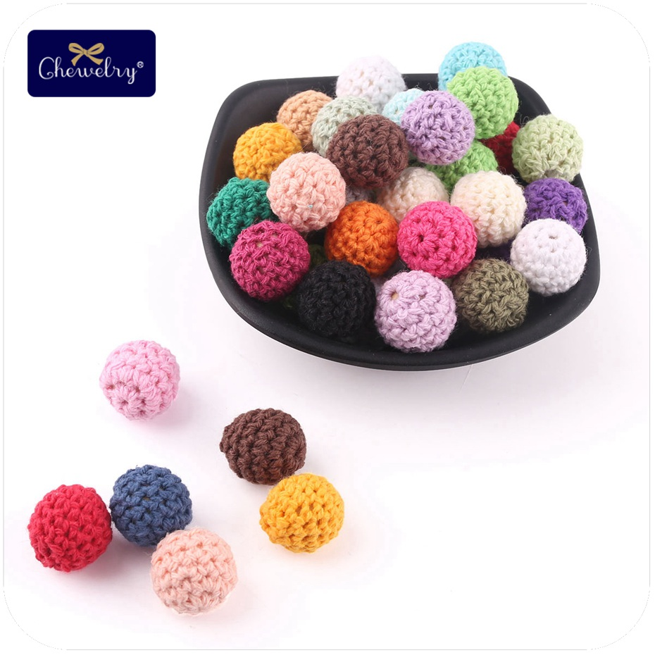 10pc 16mm  Crochet Beads Baby Shower Gifts Accessories Wooden Teething Beads Natural Teething Grasping Toy For Baby
