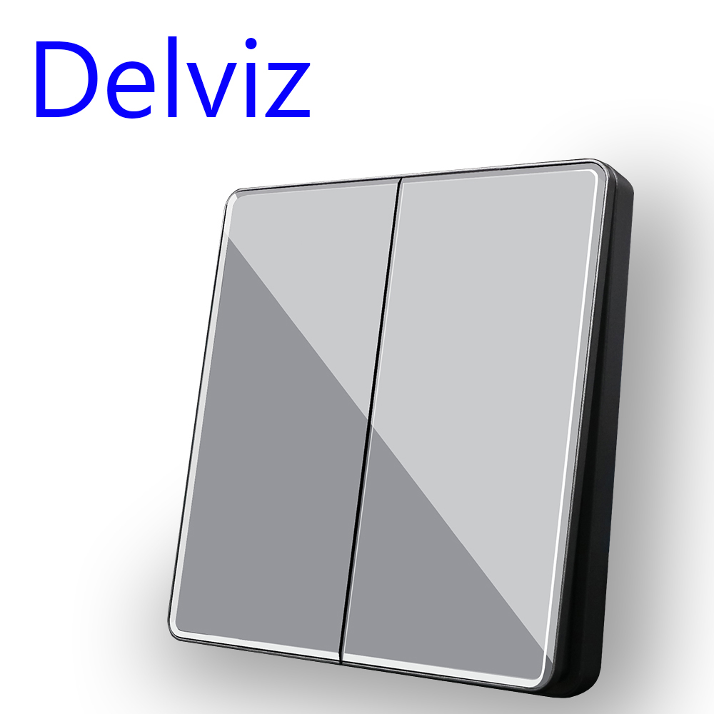 Delviz 2 Gang 2 Way Switch, Grey Crystal glass panel, Simple style, 16A Embedded button switches, EU Standard Wall Light Switch