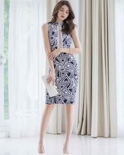 Цельное корейское платье 2020 летнее женское без рукавов с открытой