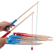 1Pc 24/30/40/50cm High Quality Wooden Magnetic Fishing Rod Toys For Kids Fishing Game Accessories
