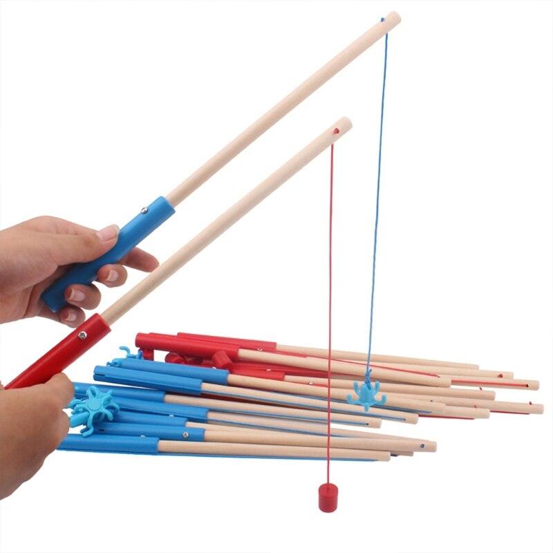 1Pc 24/30/40/50cm wysokiej jakości drewniane magnetyczne wędki zabawki dla dzieci gra wędkarska akcesoria