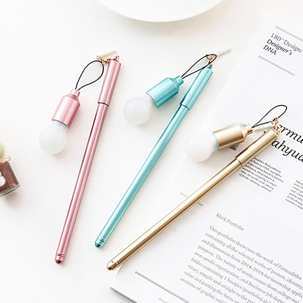 0.38mm Ultra Thin Black Gel Pen With Light Bulb Dust Plug Dangle School Supplies