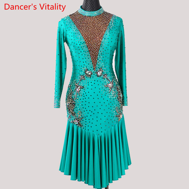 Latin Dance Performance Costume Adult Women High end Professional Racing V Neck Backless Dress Rumba Tango Dancing Stage Wear