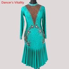 Vũ Điệu Latin Trình Diễn Trang Phục Phụ Nữ Trưởng Thành Cao Cấp Chuyên Nghiệp Đua Xe Cổ Chữ V Hở Lưng Đầm Rumba Tango Nhảy Múa Giai Đoạn Khi Mặc
