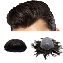 thin skin base human hair mens wigs skins hair replacement mens toupee(China)