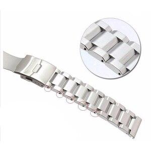 Image 4 - Rolamy 18 20 22 24mm Neue Mann Silber Gebürstet Feste Edelstahl Armband Uhr Band Strap Gürtel Für Seiko tudor Tag Heuer