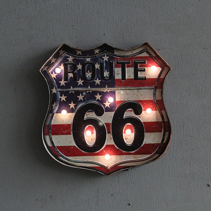 Route 66 Led Vintage Signs Pub Bar Decoration Led Metal Plate Neon Sign Neon Light Home Decor Club Cafe Wall Hanging Art