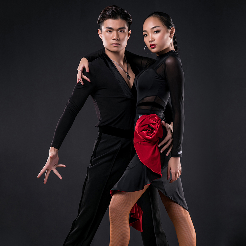 Latin Dance Practice Clothes Female Adult Long-Sleeve Bodysuit Skirts Suit Performance Clothing Latin Dance Competition Dress