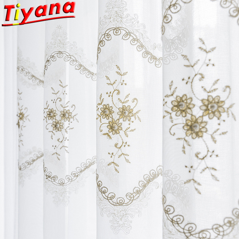 European And American Pearl Embroidery Tulle For Living Room White Sheer Voile Tulle Pearl Curtains Hot Sale Curtains WH059#20