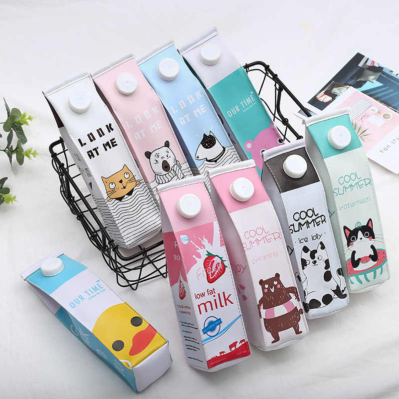 Kawaii Pencil Case School Pencil Case for Girls Boys Leather Milk Pen Box Pencilcase Stationery Bag School Supplies
