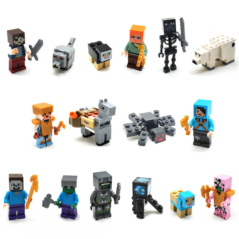 Golden Steve Dragon Slayer Building Block Action Figures Compatible MinecraftINGlys My World Bricks Set For Gift Toys