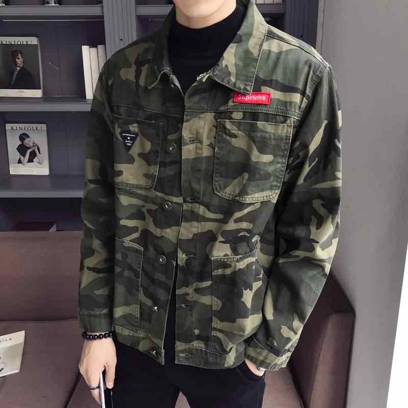 Baru 2020 Musim Gugur Kamuflase Jaket Denim Pria Plus Ukuran Tentara Militer Pria Jaket Jeans Pria Jaket