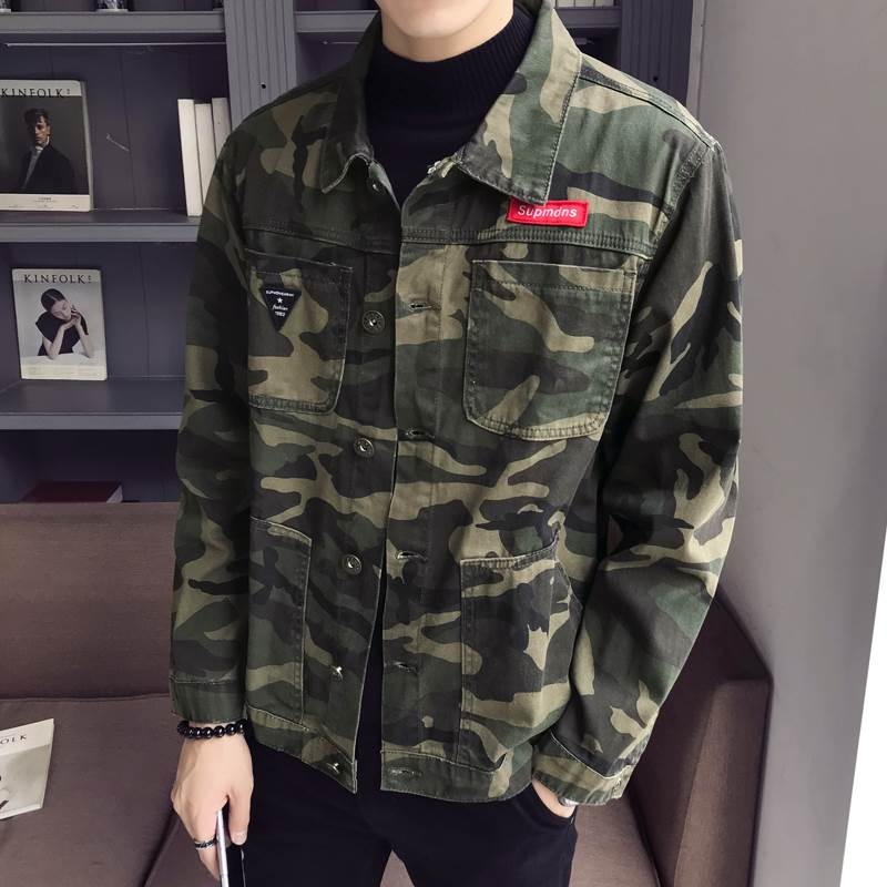 New 2020 autumn fashion camouflage denim jacket men plus size military army men jacket jeans men jacket