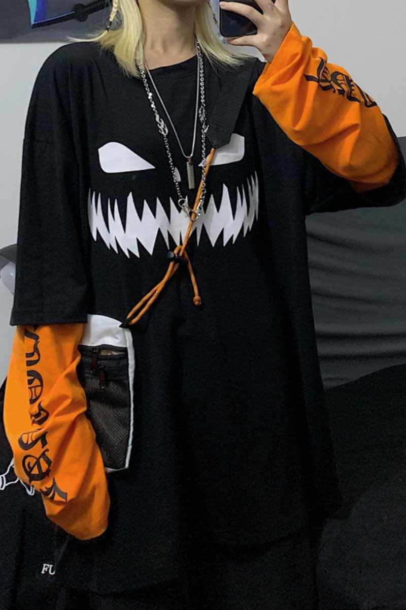 NiceMix 原宿カボチャ印刷文字 Tシャツフェイク 2 個パッチワークカジュアル長袖 Tシャツ女性と男性ストリートトップス