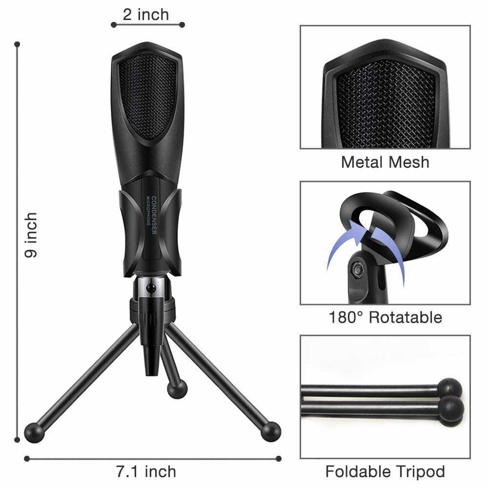 Micrófono USB condensador, micrófono para Plug And Play (PC y Mac), micrófono de grabación para Podcast, videojuegos, YouTube, vídeos y Streaming