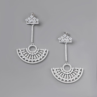 CMajor Latest S925 Sterling Silver Imported 7ACubic Zircon European and American Style Sector Creative Dangle Earrings for Women