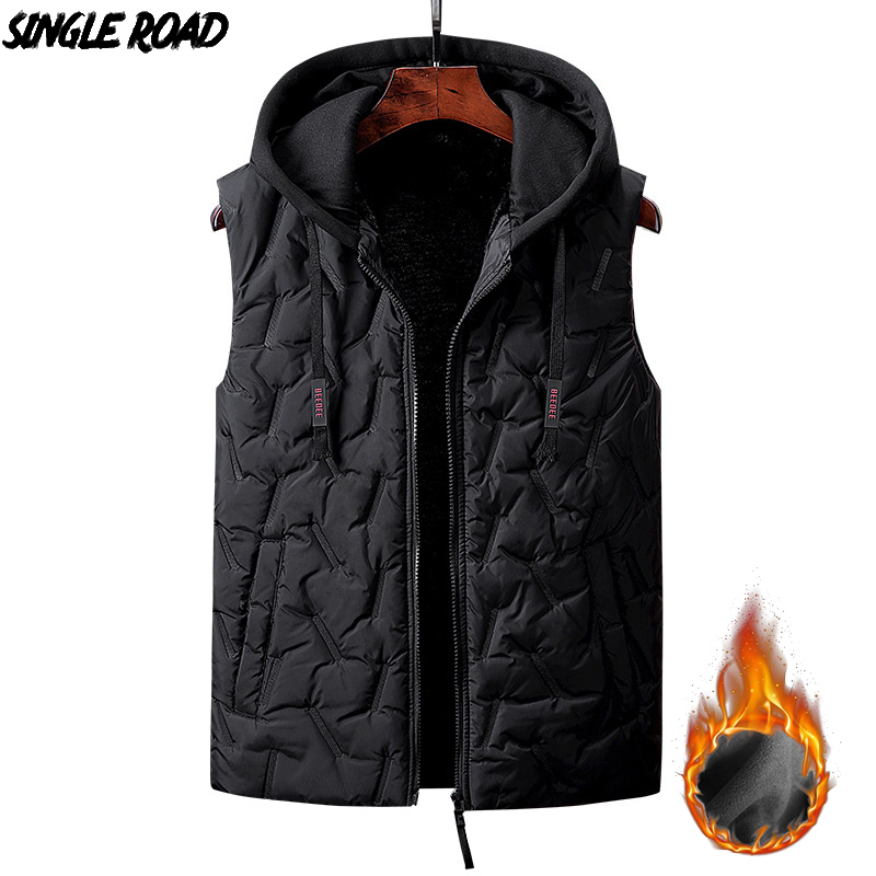 SingleRoad Winter Fleece Vest Men High Quality Sleeveless Jacket Male Hooded Coat Mens Cotton Padded Vest Windproof Bodywarmer