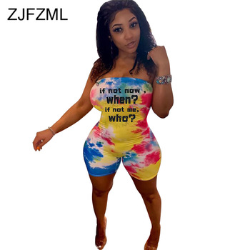 цена на Tie Dye Print Sexy Rompers Womens Jumpsuits Off The Shoulder Sleeveless Short Playsuit Summer Strapless Open Back Beach Outfits