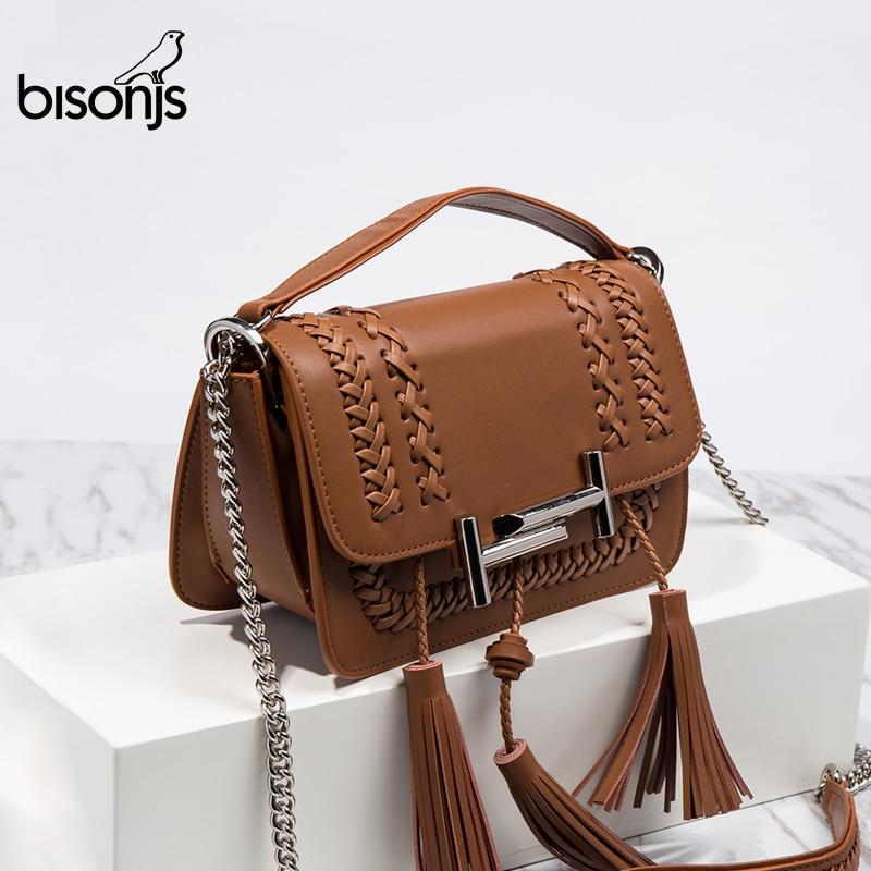 BISONJS Luxury Handbags Women Bags Designer Vintage Leather Shoulder Bags for Women 2018 Weaving Lady Crossbody Bag B1339