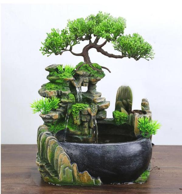 Modern Waterfall Desktop Fountain Landscape Home Practical Humidifier Beauty Scenery Living Room Home Decor Crafts 2