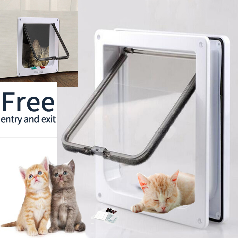 Cat Door Pet Door 4 Way Lockable Security Flap Door For Dog Cat Kitten Wall Mount Door Animal Small Pet Cat Dog Gate