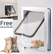 Cat Door Pet 4 Way Lockable Security Flap for Dog Kitten Wall Mount Animal Small Gate