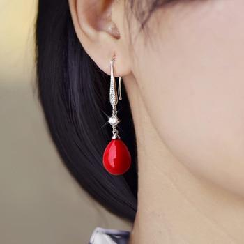New red pearl pendant earrings imitation pearl long earrings transparent crystal opal earrings, is a romantic gift for women 2